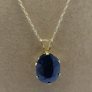 14K YG w/ 2.50CT russian lab Alexanderite necklace